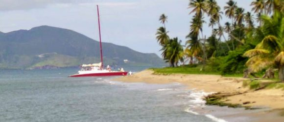 The catamaran is from St. Kitts